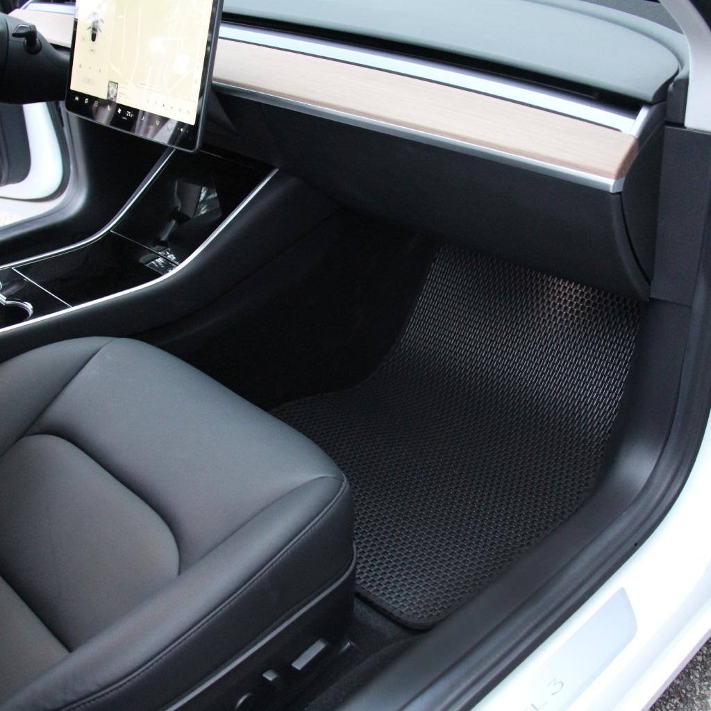 Black TeslaShop All Weather Floor Mats Custom Fit for Tesla